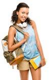 Szczęśliwy mieszany biegowy kobieta uczeń iść z powrotem szkoła Zdjęcia Stock