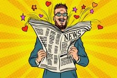 Szczęśliwy modniś czyta gazetową wiadomość ilustracja wektor