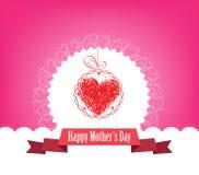 Szczęśliwy Mothers dzień z etykietką i serca kartka z pozdrowieniami Fotografia Stock