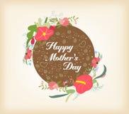 Szczęśliwy Mothers dzień z kwiecistą kartą Obrazy Stock