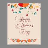 Szczęśliwy Mothers dzień z kwiecistym rocznikiem Zdjęcie Royalty Free