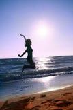 Szczęśliwy na plaży Fotografia Royalty Free
