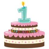 szczęśliwy najpierw urodzinowy tort ilustracji