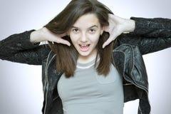 Szczęśliwy nastolatek w skórzanej kurtce Obrazy Royalty Free