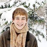 Szczęśliwy nastolatek w zimie Zdjęcie Royalty Free