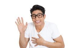 Szczęśliwy nerdy mężczyzna fotografia royalty free