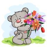Szczęśliwy niedźwiadkowy mienie w jego łapach ogromny bukiet kwiaty royalty ilustracja