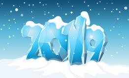 Szczęśliwy 2019 nowego roku śnieżny tło ilustracja wektor