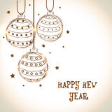 Szczęśliwy nowego roku świętowania 2015 kartka z pozdrowieniami z Xmas piłkami Fotografia Royalty Free