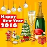 Szczęśliwy nowego roku świętowania 2016 tło Obrazy Royalty Free