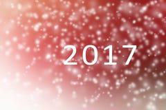 Szczęśliwy 2017 nowego roku Abstrakcjonistyczna czerwień i biel z śniegiem spada dla tła Zdjęcie Royalty Free
