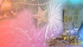 Szczęśliwy nowego roku & bożego narodzenia świętowania 2020 Plakatowy projekt obrazy stock