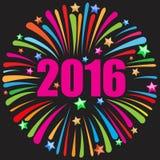 Szczęśliwy nowego roku 2016 czerń Obrazy Stock