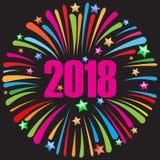 Szczęśliwy nowego roku 2018 czerń Zdjęcie Royalty Free