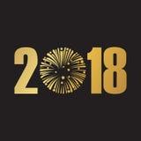 szczęśliwy nowego roku 2018 czerń 2 Obrazy Royalty Free
