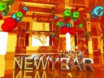 Szczęśliwy nowego roku 3d tekst Zdjęcia Stock