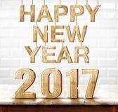 Szczęśliwy 2017 nowego roku drewniana tekstura na marmuru stole z białym cerą Fotografia Stock