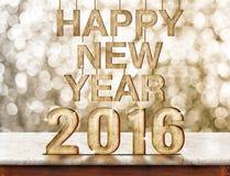 Szczęśliwy 2016 nowego roku drewniana tekstura na marmuru stole z lśnieniem Zdjęcia Royalty Free
