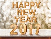 Szczęśliwy 2017 nowego roku drewniana tekstura na marmuru stole z lśnieniem Obrazy Stock