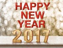 Szczęśliwy 2017 nowego roku drewniana tekstura na marmuru stole z lśnieniem Fotografia Royalty Free