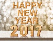 Szczęśliwy 2017 nowego roku drewniana tekstura na marmuru stole z lśnieniem Zdjęcie Royalty Free