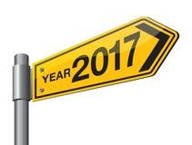 Szczęśliwy 2017 nowego roku drogowy znak Obraz Stock