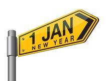 Szczęśliwy 2017 nowego roku drogowy znak Obrazy Royalty Free