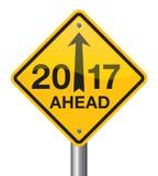 Szczęśliwy 2017 nowego roku drogowy znak Zdjęcia Royalty Free