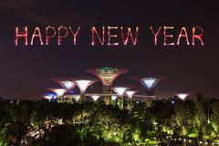 Szczęśliwy nowego roku fajerwerku błyskotanie z ogródami zatoką przy nocą Fotografia Stock