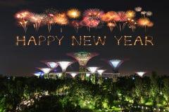 Szczęśliwy nowego roku fajerwerku błyskotanie z ogródami zatoką przy nocą Fotografia Royalty Free