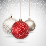 Szczęśliwy nowego roku i Wesoło bożych narodzeń zimy tło z Balową Wektorową ilustracją Zdjęcia Royalty Free