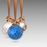 Szczęśliwy nowego roku i Wesoło bożych narodzeń zimy tło z Balową Wektorową ilustracją Obraz Stock