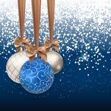 Szczęśliwy nowego roku i Wesoło bożych narodzeń zimy tło z Balową Wektorową ilustracją Fotografia Stock
