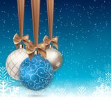 Szczęśliwy nowego roku i Wesoło bożych narodzeń zimy tło z Balową Wektorową ilustracją Fotografia Royalty Free