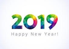 2019 Szczęśliwy nowego roku kartka z pozdrowieniami Obrazy Stock