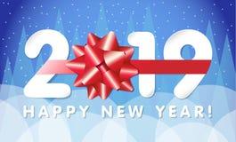 2019 Szczęśliwy nowego roku kartka z pozdrowieniami Zdjęcia Royalty Free