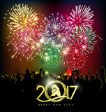 Szczęśliwy nowego roku kartka z pozdrowieniami 2017 Fotografia Stock