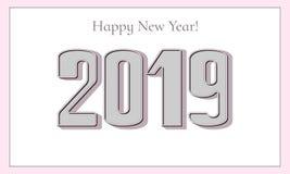 Szczęśliwy nowego roku 2019 kartka z pozdrowieniami Eleganckie 3D liczby zdjęcia stock