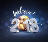 Szczęśliwy nowego roku 2018 kartka z pozdrowieniami Na całym świecie Zdjęcia Royalty Free
