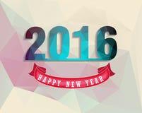 Szczęśliwy nowego roku 2016 kartka z pozdrowieniami stylizował trójboka poligonalnego modela Fotografia Royalty Free