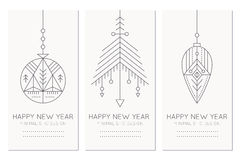 Szczęśliwy nowego roku kartka z pozdrowieniami szablon z wiszącymi dekoracjami ilustracji