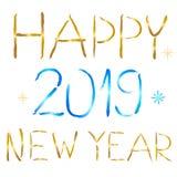 Szczęśliwy nowego roku 2019 kartka z pozdrowieniami, wektor royalty ilustracja
