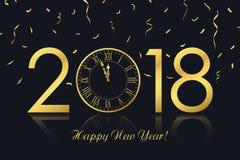 Szczęśliwy nowego roku 2018 kartka z pozdrowieniami z złoto zegarowymi i złotymi confetti wektor Obrazy Stock