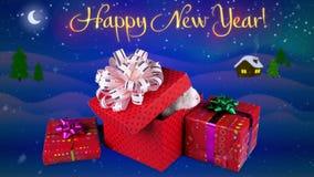 Szczęśliwy nowego roku kartka z pozdrowieniami z tekstem, śliczny królik wydostawał się od teraźniejszości pudełka royalty ilustracja