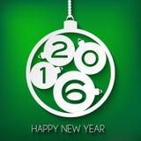 Szczęśliwy nowego roku 2016 kartka z pozdrowieniami Zielonego papieru wektoru illustrati Zdjęcie Royalty Free