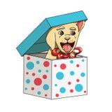 Szczęśliwy nowego roku Labrador Retriever szczeniak Teraźniejszy Z kępką Zdjęcie Royalty Free