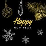 Szczęśliwy nowego roku literowanie, boże narodzenia i doodle na czarnym tle Zdjęcie Royalty Free