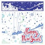 Szczęśliwy nowego roku literowanie, ilustracja i Zdjęcia Royalty Free