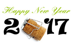 Szczęśliwy nowego roku 2017 literowanie z Champaign korkiem Zdjęcie Stock