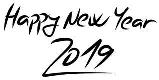 Szczęśliwy nowego roku 2019 logo ręcznie pisany z dynamiczną chrzcielnicą ilustracja wektor